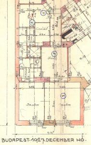 A Bethlen Gábor tér 3. I. emelet 12. számú lakás alaprajza az 1927-es terven.